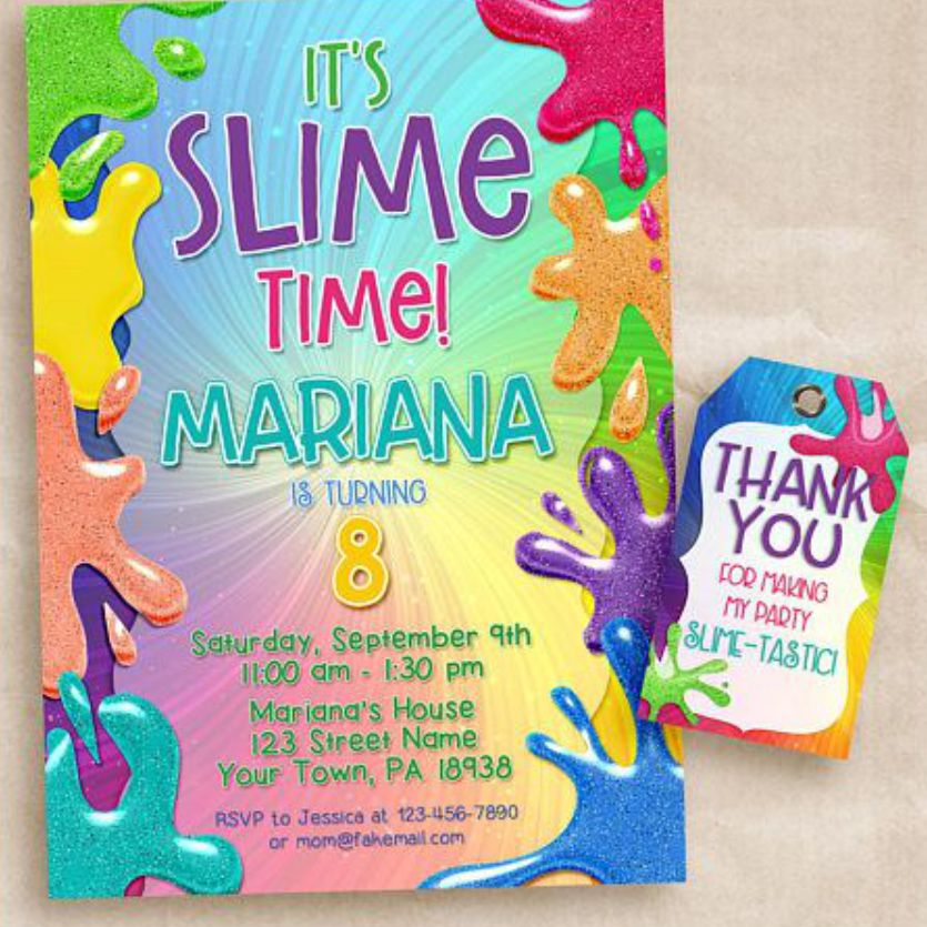Convite Super festa Slime, slime party, Schleim-Party Einladung, invitación de fiesta de limo, slime party invitation